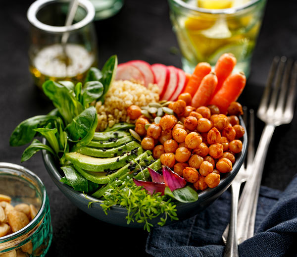 Proteins must provide about 30-35% of calorie needs, 10-15% should come from fats of all three types (saturated, monounsaturated and polyunsaturated).width=